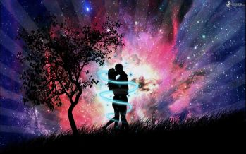 siluetta-di-una-coppia-abbraccio-bacio-universo-arte-digitale-151893